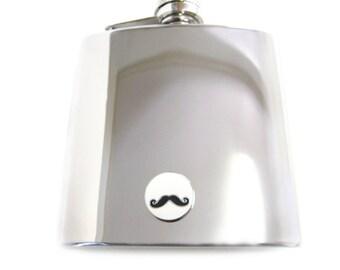 Circular Mustache 6 oz. Stainless Steel Flask