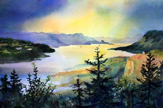 Columbia Gorge 287 - signed print or note cards of a watercolor by Bonnie White