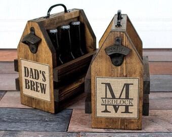 Rustic Beer Tote - Wood Six Pack Carrier - Personalized Wood Beer Caddy - Personalized Wood Beer Opener - Beer Opener - Bottle Opener