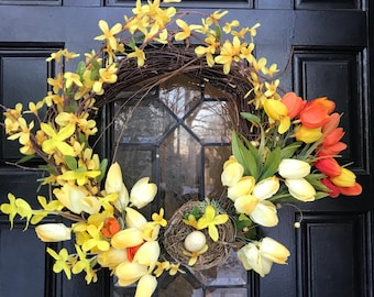 Spring Wreath-Front Door Wreath-Forsythia Wreath-Easter Wreath-Mother's Day Wreath