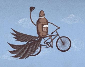 Tally-Ho- A4 art print by Jon Turner- geeky robot on a bicycle artwork- FREE WORLDWIDE SHIPPING