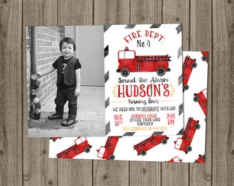 Firetruck Photo Birthday Invitation - Sound the Alarm - 5x7 JPG DIGITAL FILE (Front and Back Design)