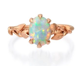 Opal engagement ring, Opal ring, Opal 18K Rose Gold Ring, Opal Jewelry, Unique Engagement ring, Australian Opal Ring, Leaves Opal Ring, 14