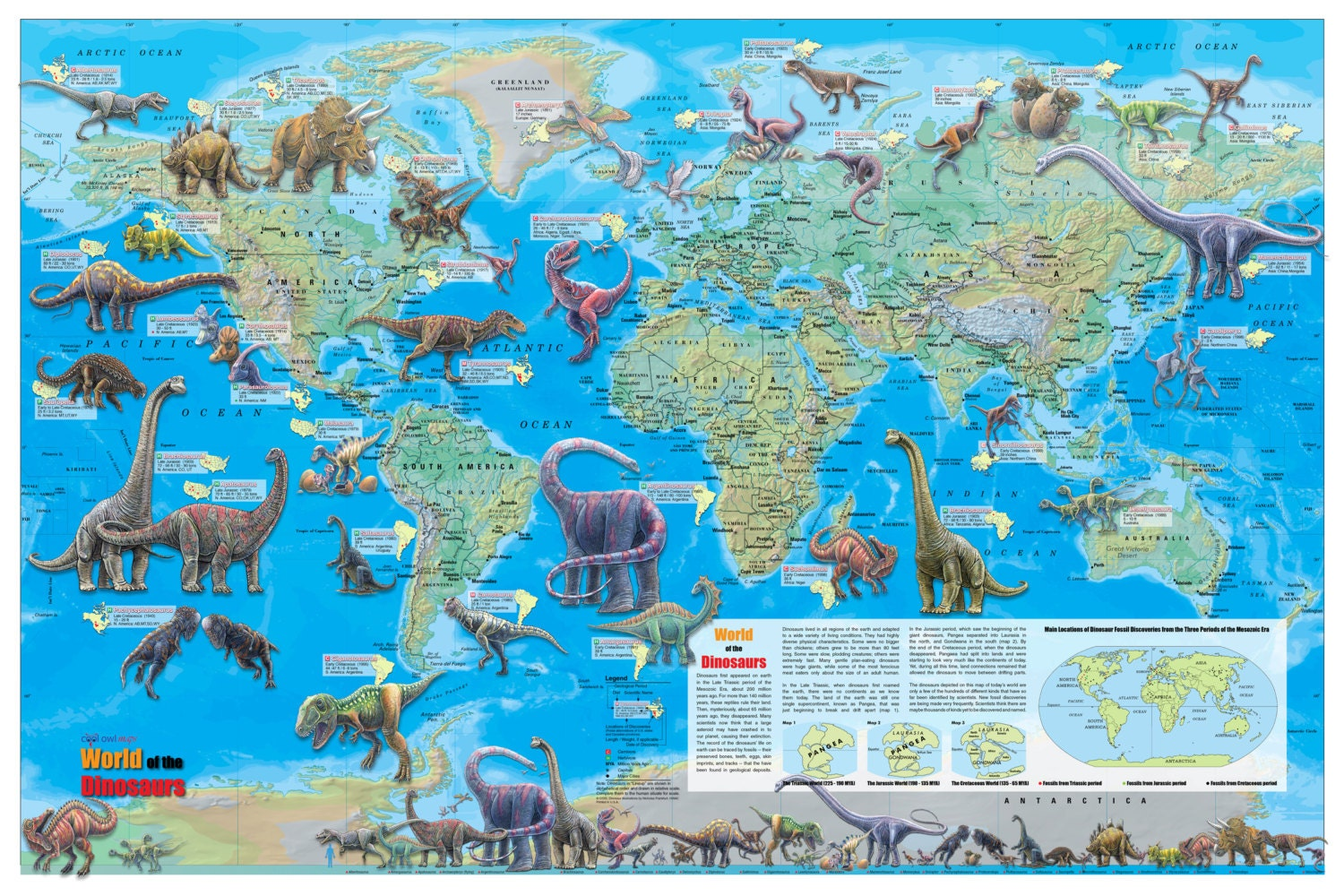 World of the Dinosaurs Wall Map Poster 36x24