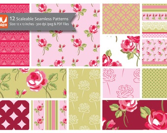 "12 Pretty Shabby Chic Floral Digital Scrapbooking Paper Patterns, Collage Sheets and Clipart - 12x12"" HiRes 300dpi files"