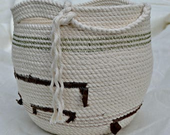 Rope Basket * handmade three strand cotton rope basket * unique storage * cotton rope and hand dyed hemp *