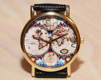 Map watch etsy wristwatch antique world map mens watch women watches travelers watch travelers gift gumiabroncs Choice Image