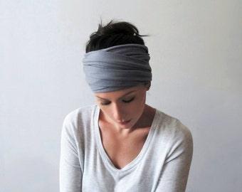 PEWTER Grey Hair Wrap - Light Gray Head Scarf - Bohemian Headband - Extra Wide Jersey Hair Wrap - Yoga Hair Accessories