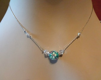 Green Lampwork Bead and Crystal  Necklace