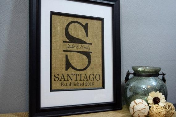 Framed Burlap Print Framed Monogram Personalized Wedding
