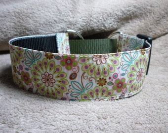 1.5 inch Martingale Greyhound / Lurcher / Whippet Collar - April Flowers