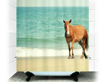 Fabric Shower Curtain - Wild Mustang of Carova Photography, North Carolina, OBX, wild horse, sea, ocean, beach, decor, shower curtain