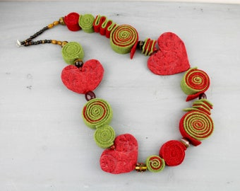 Green and red Felt and Lampwork Glass Beads Necklace, Nickel free