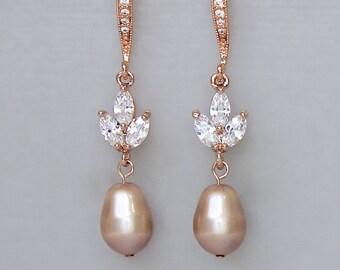 Champagne Earrings, Rose Gold Earrings, Champagne Pearl Drop Earrings, HAYLEY RGP