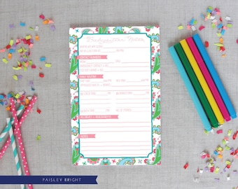 Babysitter Notepad | Paisley Pattern | Bright or Pastel Colors | Baby Sitter Notes | Baby Shower Gift | New Mom