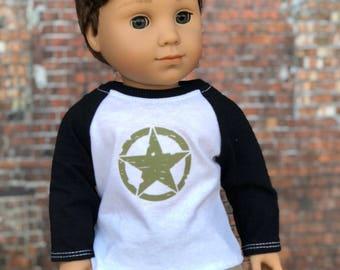 American Boy Doll Clothes | Star Graphic BOY Long Sleeve Raglan BASEBALL TEE for 18 Inch Doll