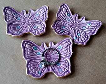 THREE Tiny Ceramic Butterfly Ring Dishes Purple edged in gold