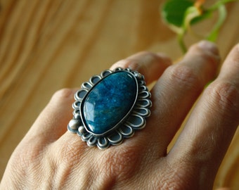 Silver Azurite Ring—Efflorescence Floral Azurite Statement Ring—Finished In Your Size