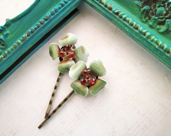 Repurposed/Upcycled Vintage Sage Olive Green with Orange Rhinestone Flower Bobby Pins / Hair Pins / Hair Accessory / OOAK Art