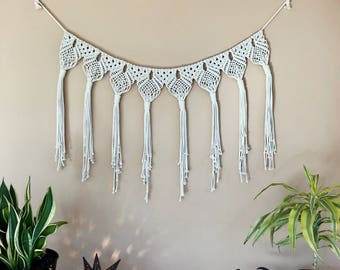 Macrame Garland, Bunting, Tassel Fringe Wall Hanging - Natural White Cotton Rope - Modern Boho Home, Nursery, Party Decor, Wedding Backdrop