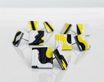 Small Black and Yellow Stud Earrings, Nordic Design Earrings, Geometric Earrings, Scandinavian, Modern Design, Minimalist Earrings