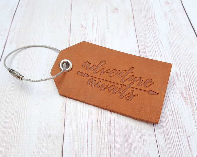Featured listing image: Adventure Awaits Leather Luggage Tag