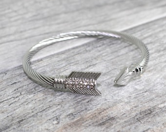 SALE Arrow Cuff Bracelet in Solid Stainless Steel