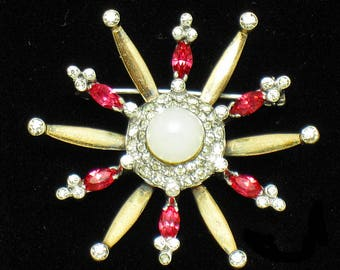 Vintage 1940s MAZER STERLING Gold Plated Rhinestone Snowflake Star Brooch Pin