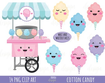 50% SALE cotton candy clipart, cotton candy printable, commercial use, candy clipart, instant download,kawaii clipart