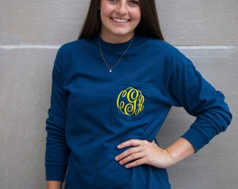 Monogram Shirt, Monogrammed Shirt, Personalized Shirt, Monogrammed Tee, Comfort Colors Long Sleeve, Gift For Her, Personalized Gift