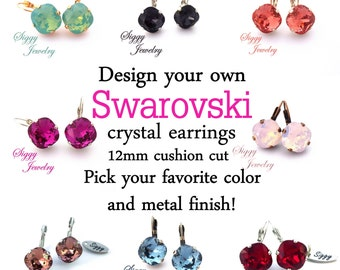 SELECT-A-COLOR Swarovski Crystal Earrings, Assorted Colors, 12mm Cushion Cut Diamond Shape, Pick Your Color And Finish, FREE Shipping
