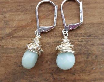 Silver Wire Wrapped Earrings, Aqua Drop Earrings, Silver And Blue Drop Earrings, Turquoise Drop Earrings, Wire Wrapped Drop Earrings