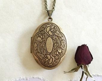 Briar Rose Natural Solid Perfume Locket Necklace - Botanical Handmade Keepsake Gift for Her