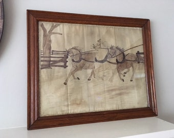 Antique Original Water Color of Horses/Equestrian/Hues of Brown/Country Western/Ranch
