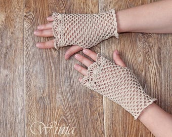 Wedding gloves Crochet mitts Cotton fingerless gloves Crochet gloves Victorian gloves Cotton mittens Knitted gloves Boho gloves Lace gloves