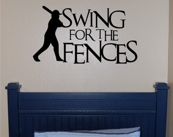 Baseball Swing for the Fences Wall Decal - Baseball Wall Decal - Sports Wall Decal - Baseball Bedroom Decal - Boy Wall Decal - Teen Decal