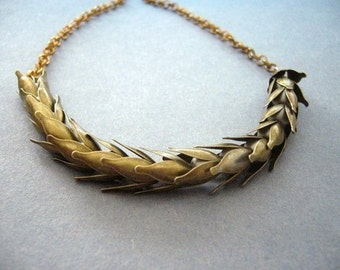 brass wheat necklace