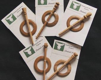 Shawl pins turned from oak