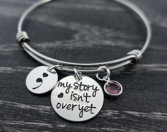 Semicolon Jewelry / Wire Bangle / My Story isn't over yet / Semicolon Bangle / Suicide Awareness / Personalized Bangle / Hand Stamped