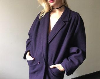 Vintage 80s Oversized Slouch Purple Wool Coat