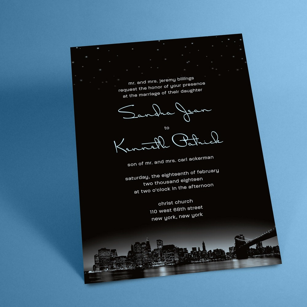 New York City Skyline Wedding Invitations with Night Stars