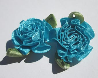 2 large bows in colorful fabric - flower 25mm width approx (A123)