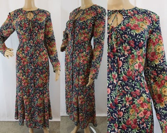 90s floral sheer maxi dress with keyhole at bust by Monica Heart size medium