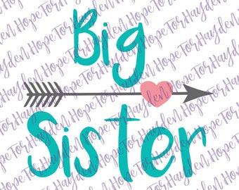 Big sister SVG; Big sis arrow; Baby announcement SVG