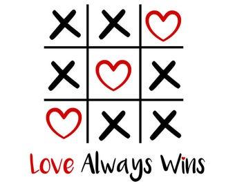 Love always wins svg, love svg, valentines day svg, tic tac toe svg, hugs and kisses svg, valentine svg,svg file for cricut, svg, silhouette