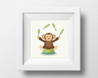 Circus Print | Cute Monkey | Art Print | Circus monkey| Wall Print |Circus theme nursery |Gift for her |Baby Gift |New Born | Nursery room |