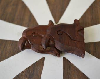 1940s Carved Wooden Parrot Buckle Set