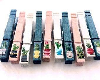CACTUS CLOTHESPINS painted millennial pink denim blue boho chic hipster urban decor photo clips party favors teenage girl gift