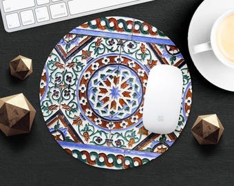 Mouse Pad Morocco Mouse Mat Moorish Ceramic MouseMat Round MousePad Rectangular Mouse Mat Style Desk Accessories Office Supplies Gift Idea