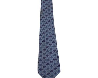 Hermes vintage silk tie 937 IA rhomb rope print blue made in france